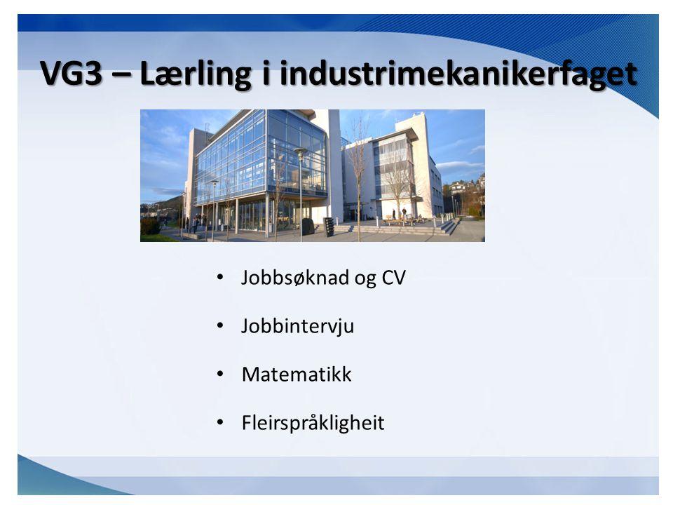 VG3 – Lærling i industrimekanikerfaget Jobbsøknad og CV Jobbintervju Matematikk Fleirspråkligheit