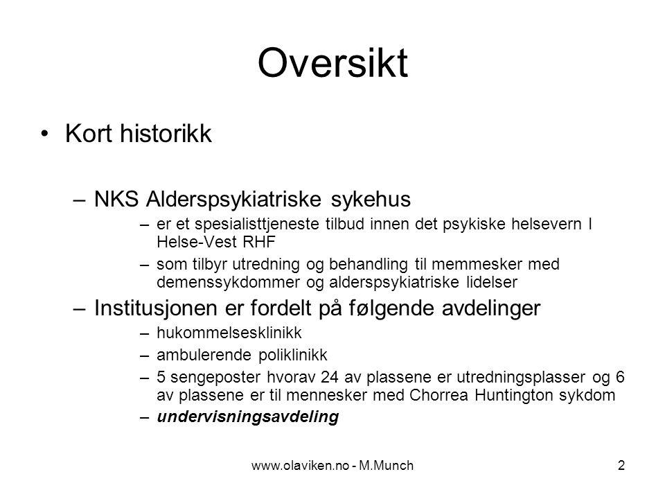 www.olaviken.no - M.Munch3 Undervisningsavdeling Startet som 4 - årig prosjekt sommeren 1999 med midler over statsbudsjettet fordelt gjennom Fylkesmannen og Fylkeslegen.