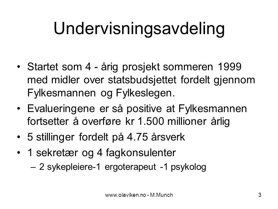 www.olaviken.no - M.Munch4 Mål - undervisningsavdeling Styrke samarbeide mellom 1.