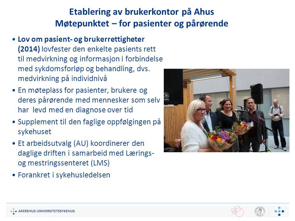 Etablering av brukerkontor på Ahus Møtepunktet – for pasienter og pårørende Lov om pasient- og brukerrettigheter (2014) lovfester den enkelte pasients