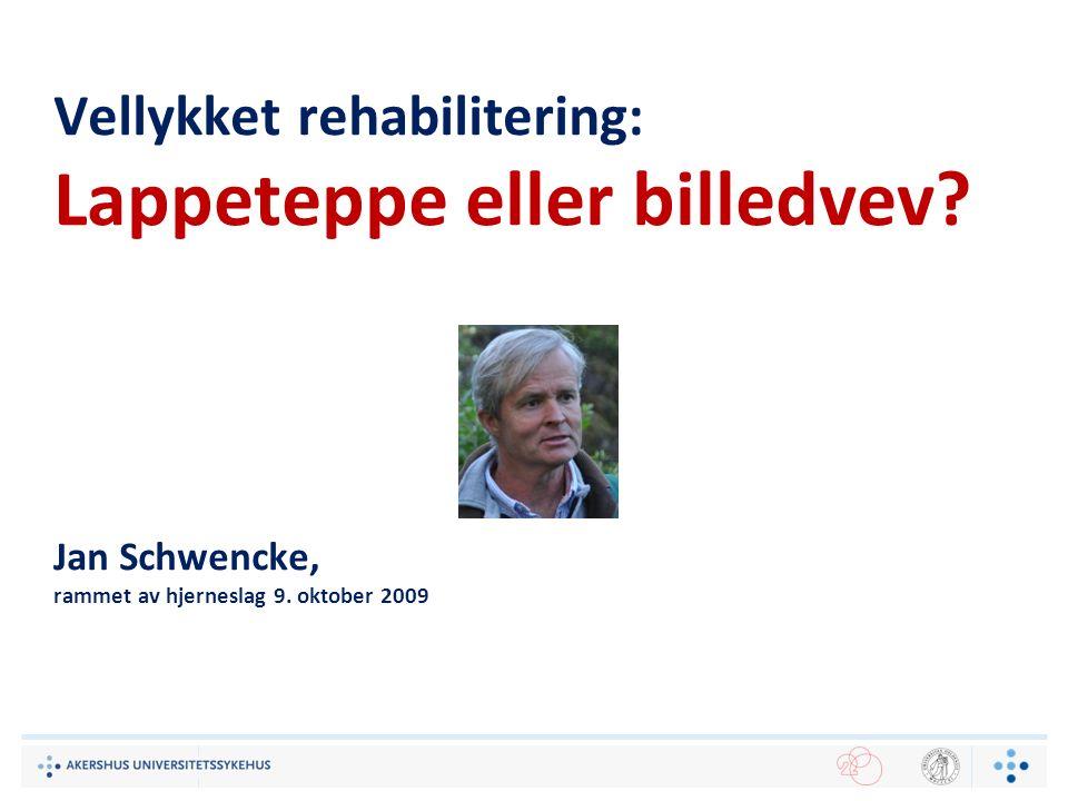 Vellykket rehabilitering: Lappeteppe eller billedvev? Jan Schwencke, rammet av hjerneslag 9. oktober 2009