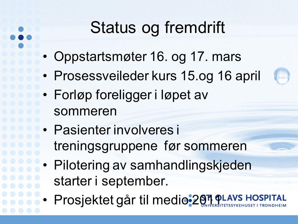 Status og fremdrift Oppstartsmøter 16. og 17. mars Prosessveileder kurs 15.og 16 april Forløp foreligger i løpet av sommeren Pasienter involveres i tr