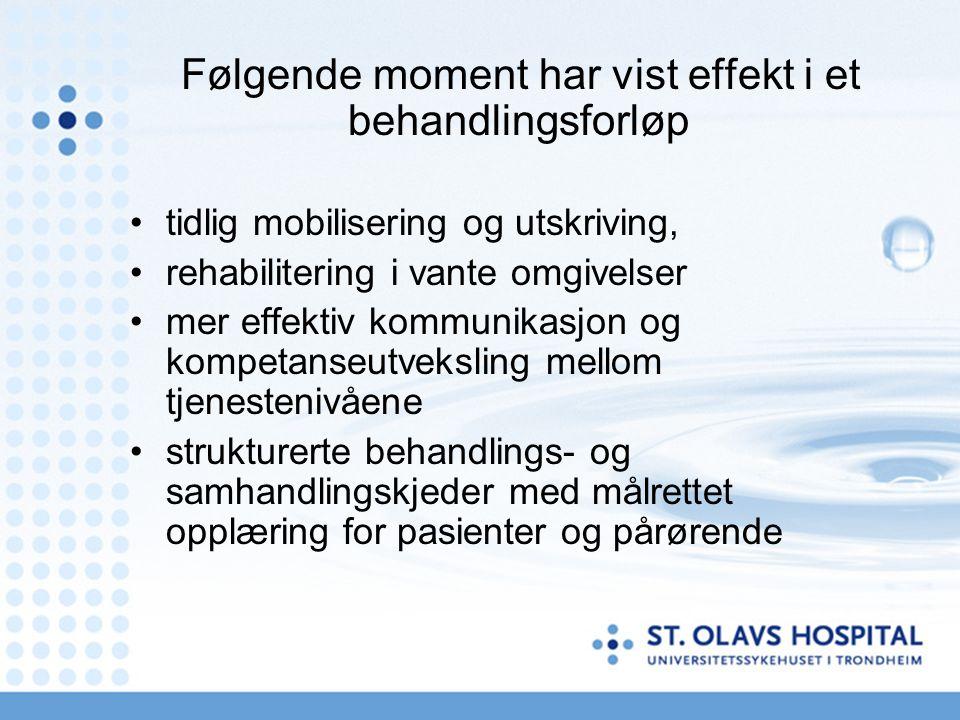 Følgende moment har vist effekt i et behandlingsforløp tidlig mobilisering og utskriving, rehabilitering i vante omgivelser mer effektiv kommunikasjon