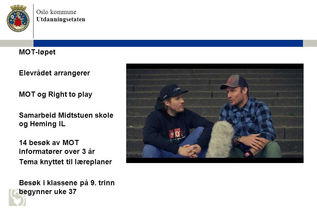 Oslo kommune Utdanningsetaten MOT-løpet Elevrådet arrangerer MOT og Right to play Samarbeid Midtstuen skole og Heming IL 14 besøk av MOT informatører over 3 år Tema knyttet til læreplaner Besøk i klassene på 9.