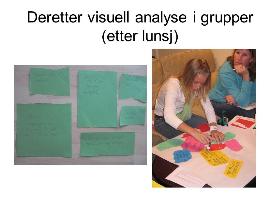 Deretter visuell analyse i grupper (etter lunsj)