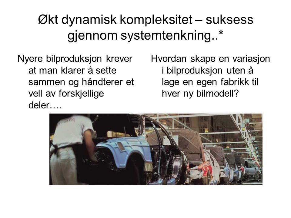 Økt dynamisk kompleksitet – suksess gjennom systemtenkning..* Nyere bilproduksjon krever at man klarer å sette sammen og håndterer et vell av forskjellige deler….