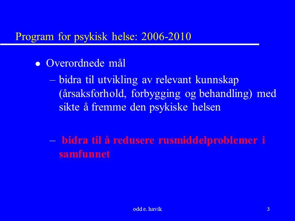 odd e. havik3 Program for psykisk helse: 2006-2010 l Overordnede mål –bidra til utvikling av relevant kunnskap (årsaksforhold, forbygging og behandlin