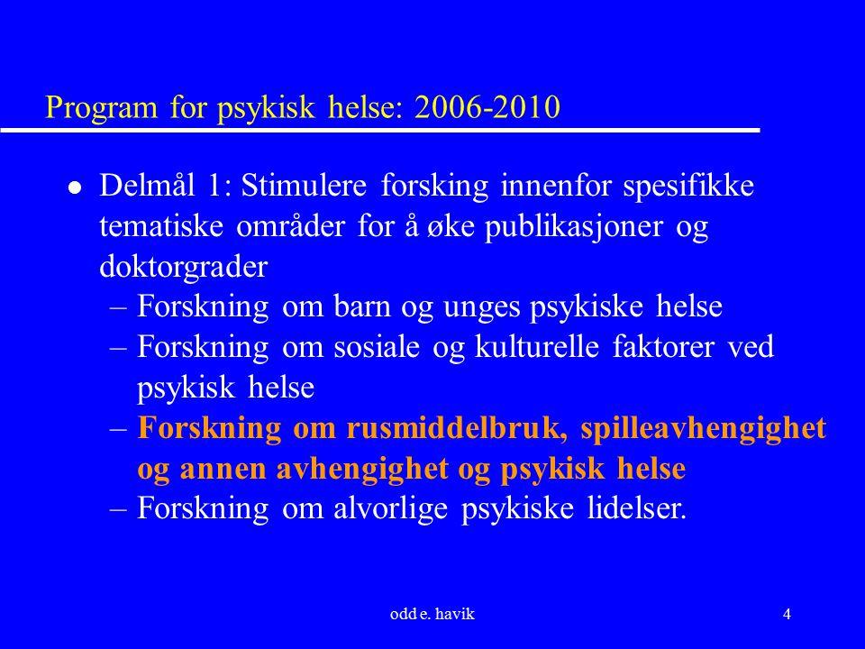 odd e. havik4 Program for psykisk helse: 2006-2010 l Delmål 1: Stimulere forsking innenfor spesifikke tematiske områder for å øke publikasjoner og dok