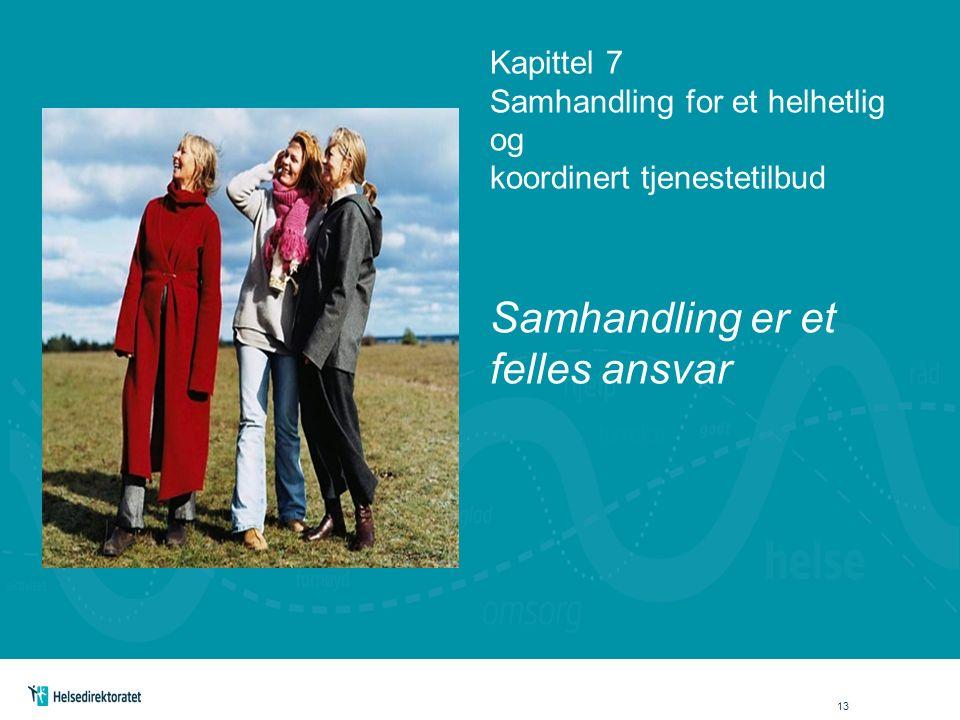Kapittel 7 Samhandling for et helhetlig og koordinert tjenestetilbud Samhandling er et felles ansvar 13