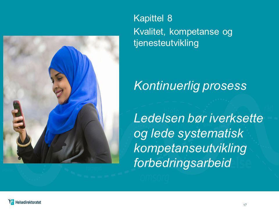 Kapittel 8 Kvalitet, kompetanse og tjenesteutvikling Kontinuerlig prosess Ledelsen bør iverksette og lede systematisk kompetanseutvikling forbedringsarbeid 17
