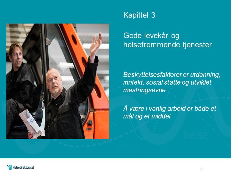Kapittel 3 Gode levekår og helsefremmende tjenester Beskyttelsesfaktorer er utdanning, inntekt, sosial støtte og utviklet mestringsevne Å være i vanlig arbeid er både et mål og et middel 8