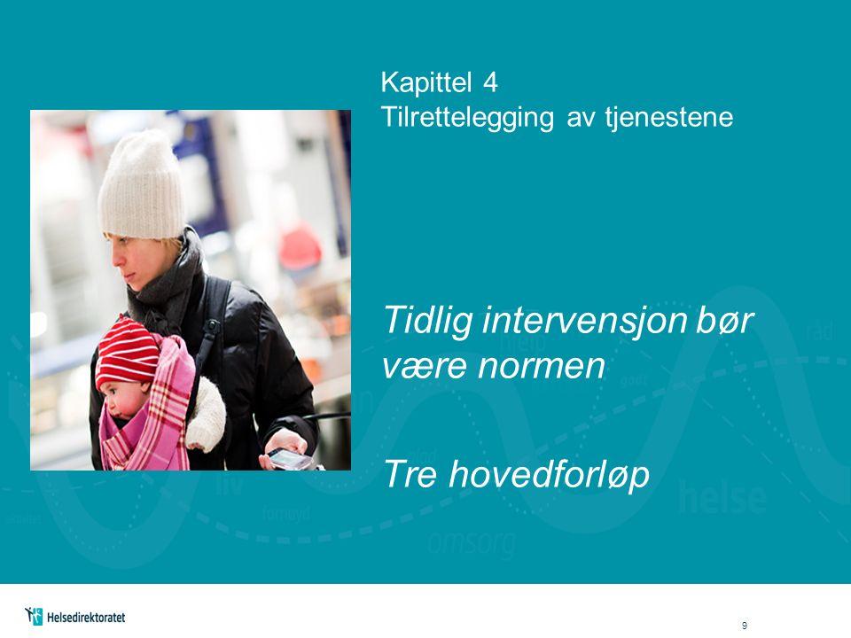 Kapittel 4 Tilrettelegging av tjenestene Tidlig intervensjon bør være normen Tre hovedforløp 9