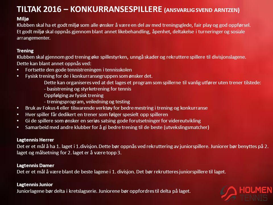 TILTAK 2016 – KONKURRANSESPILLERE (ANSVARLIG SVEND ARNTZEN) Miljø Klubben skal ha et godt miljø som alle ønsker å være en del av med treningsglede, fair play og god oppførsel.