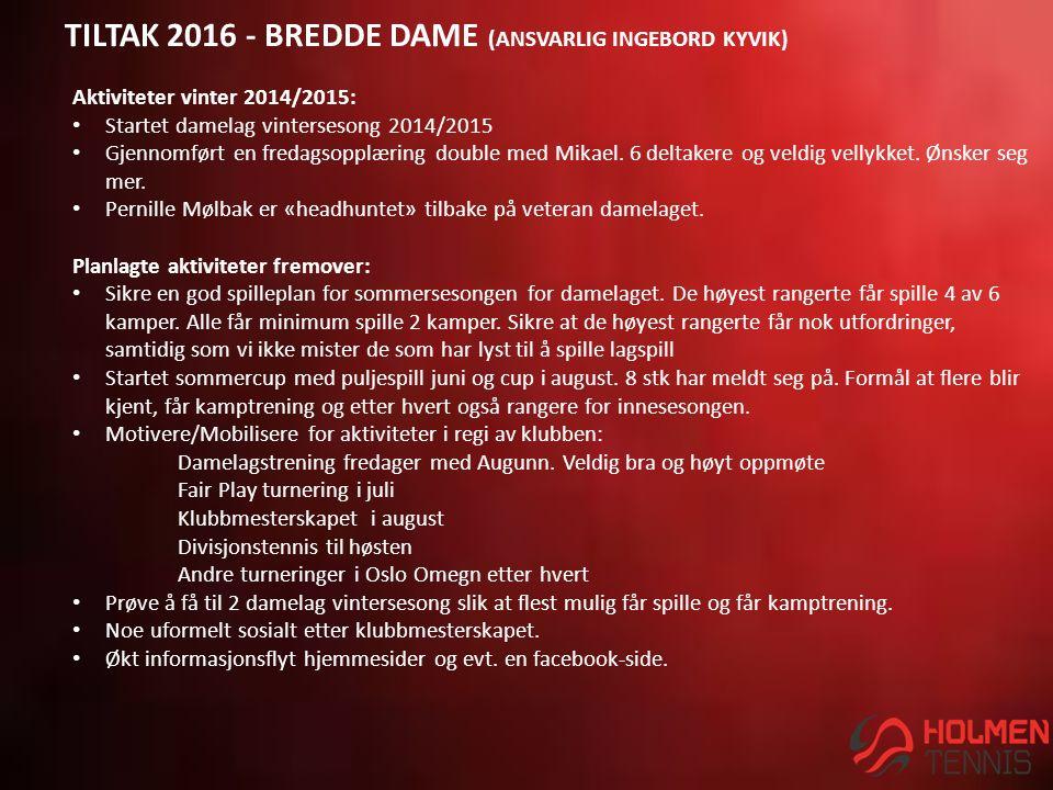 TILTAK 2016 - BREDDE DAME (ANSVARLIG INGEBORD KYVIK) Aktiviteter vinter 2014/2015: Startet damelag vintersesong 2014/2015 Gjennomført en fredagsopplæring double med Mikael.