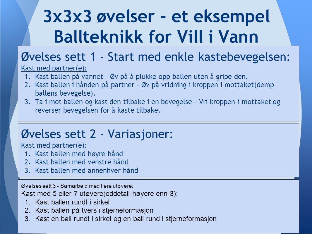 3x3x3 øvelser - et eksempel Ballteknikk for Vill i Vann Øvelses sett 1 - Start med enkle kastebevegelsen: Kast med partner(e): 1.Kast ballen på vannet - Øv på å plukke opp ballen uten å gripe den.