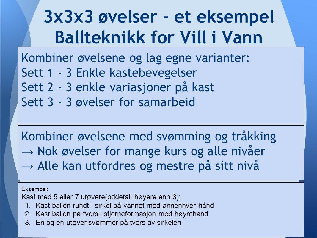 3x3x3 øvelser - et eksempel Ballteknikk for Vill i Vann Kombiner øvelsene og lag egne varianter: Sett 1 - 3 Enkle kastebevegelser Sett 2 - 3 enkle variasjoner på kast Sett 3 - 3 øvelser for samarbeid Kombiner øvelsene med svømming og tråkking → Nok øvelser for mange kurs og alle nivåer → Alle kan utfordres og mestre på sitt nivå Eksempel: Kast med 5 eller 7 utøvere(oddetall høyere enn 3): 1.Kast ballen rundt i sirkel på vannet med annenhver hånd 2.Kast ballen på tvers i stjerneformasjon med høyrehånd 3.En og en utøver svømmer på tvers av sirkelen