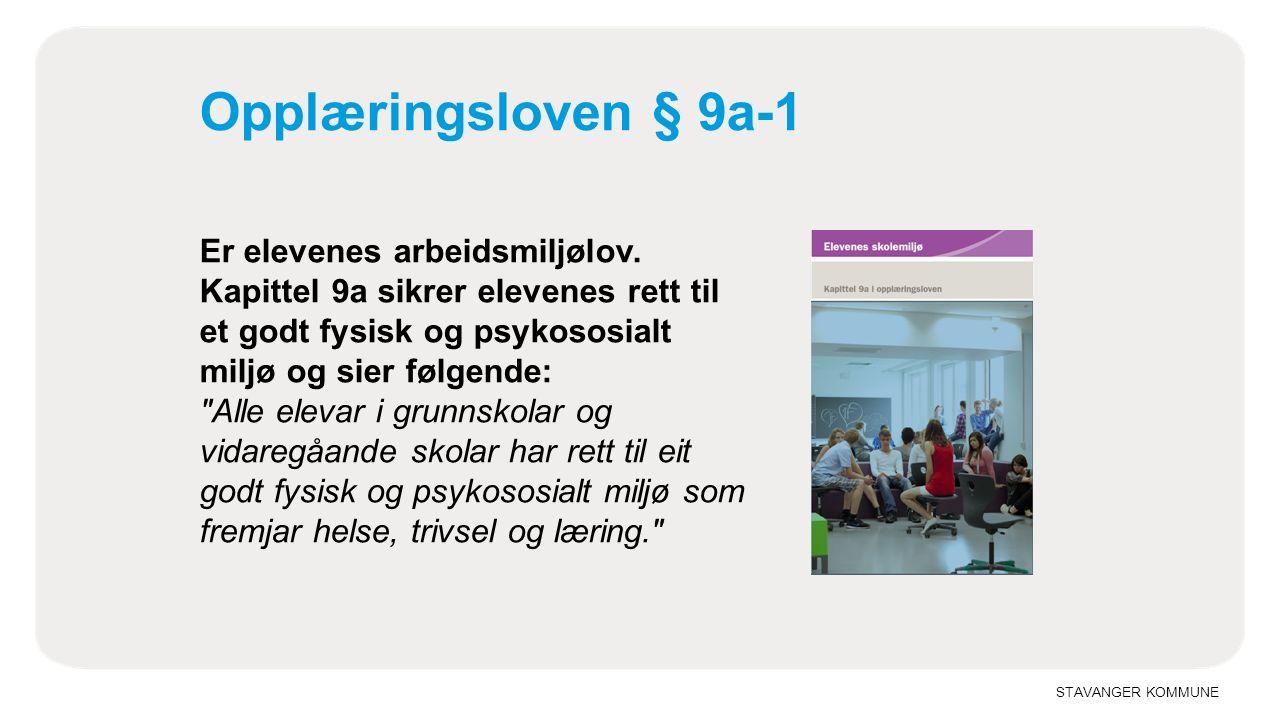 STAVANGER KOMMUNE Opplæringsloven § 9a-1 Er elevenes arbeidsmiljølov.