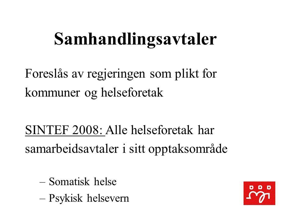 Samhandlingsavtaler Foreslås av regjeringen som plikt for kommuner og helseforetak SINTEF 2008: Alle helseforetak har samarbeidsavtaler i sitt opptaksområde –Somatisk helse –Psykisk helsevern
