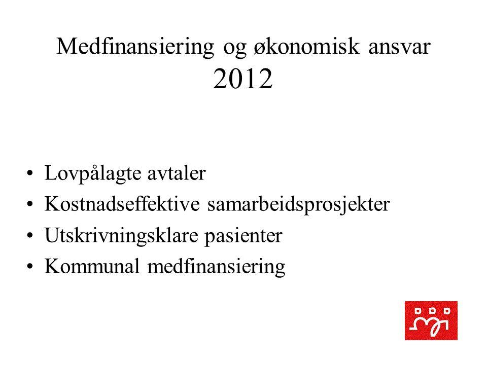 Medfinansiering og økonomisk ansvar 2012 Lovpålagte avtaler Kostnadseffektive samarbeidsprosjekter Utskrivningsklare pasienter Kommunal medfinansiering
