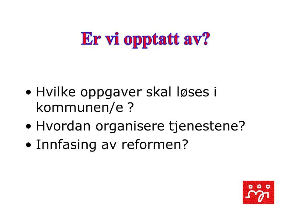 Hvilke oppgaver skal løses i kommunen/e ? Hvordan organisere tjenestene? Innfasing av reformen?