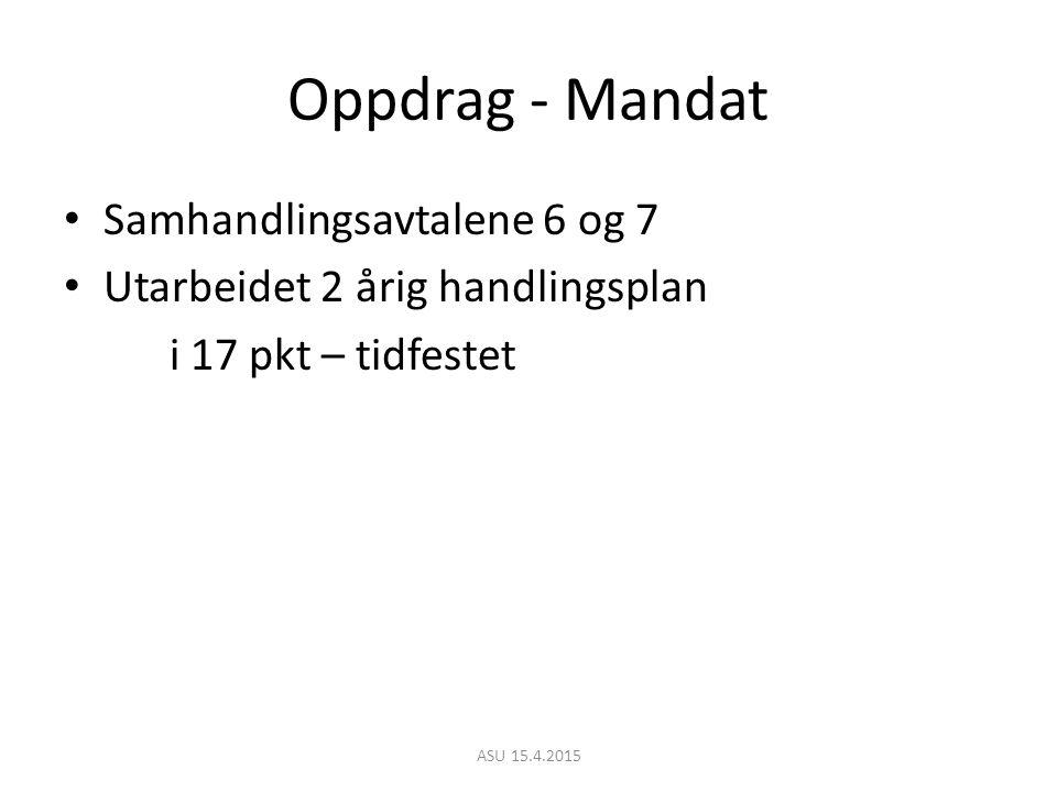 Oppdrag - Mandat Samhandlingsavtalene 6 og 7 Utarbeidet 2 årig handlingsplan i 17 pkt – tidfestet ASU 15.4.2015