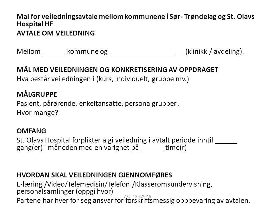Mal for veiledningsavtale mellom kommunene i Sør- Trøndelag og St.
