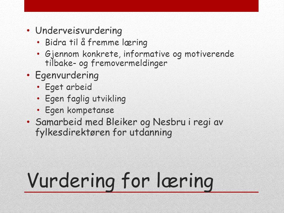 Vurdering for læring Underveisvurdering Bidra til å fremme læring Gjennom konkrete, informative og motiverende tilbake- og fremovermeldinger Egenvurde