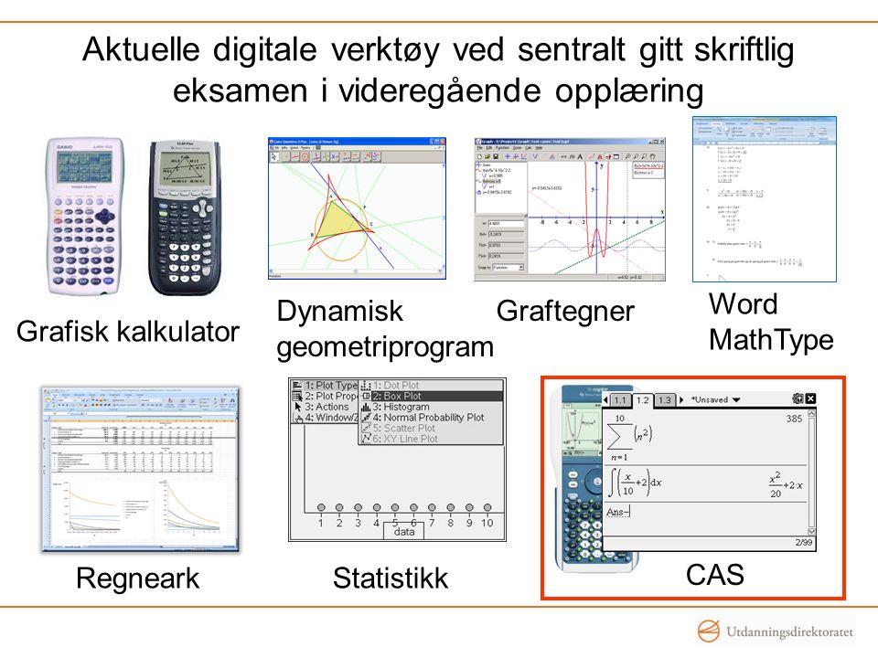 Aktuelle digitale verktøy ved sentralt gitt skriftlig eksamen i videregående opplæring Grafisk kalkulator Dynamisk geometriprogram Graftegner Regneark CAS Statistikk Word MathType