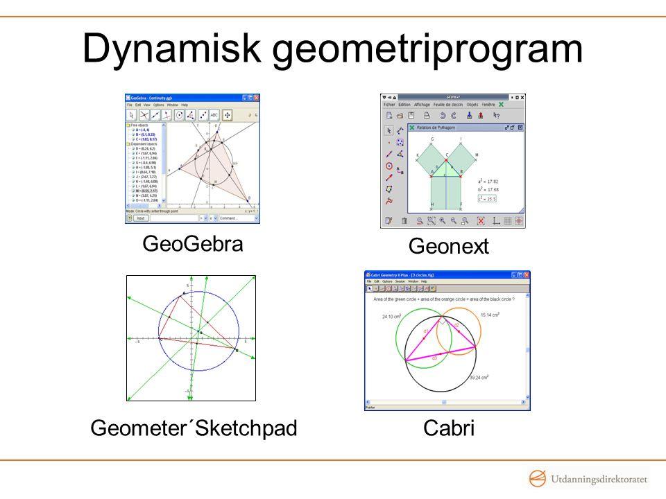 Dynamisk geometriprogram GeoGebra Geonext CabriGeometer´Sketchpad