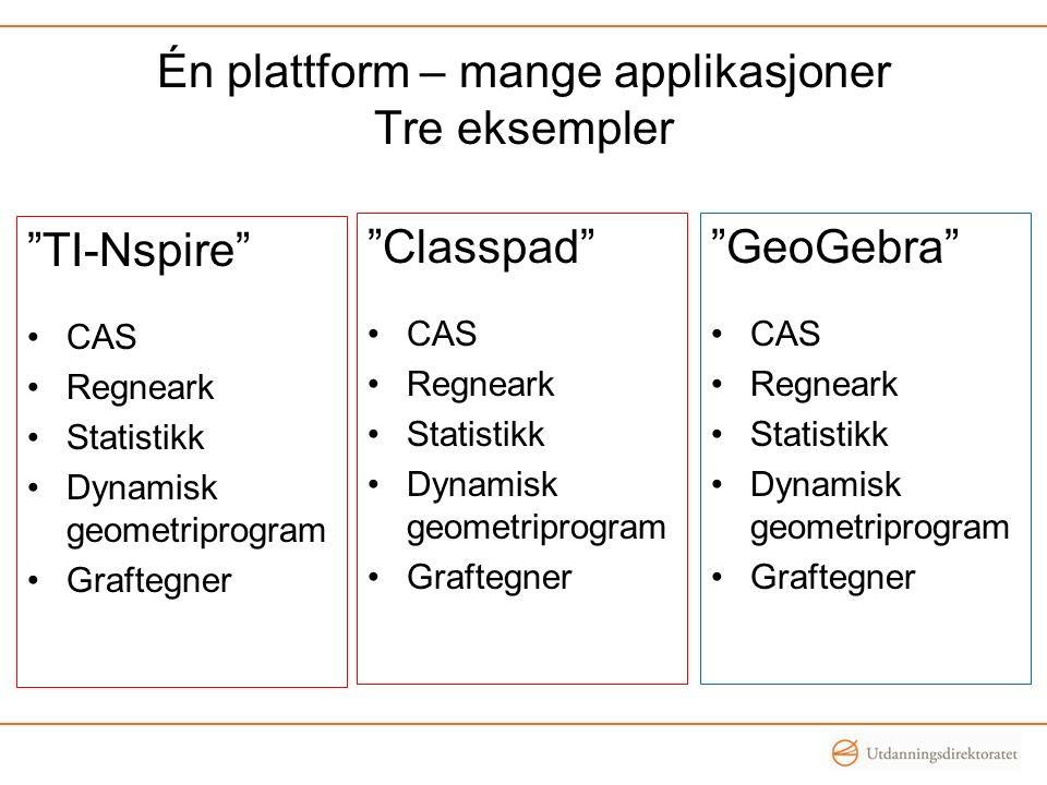 Én plattform – mange applikasjoner Tre eksempler GeoGebra CAS Regneark Statistikk Dynamisk geometriprogram Graftegner TI-Nspire CAS Regneark Statistikk Dynamisk geometriprogram Graftegner Classpad CAS Regneark Statistikk Dynamisk geometriprogram Graftegner