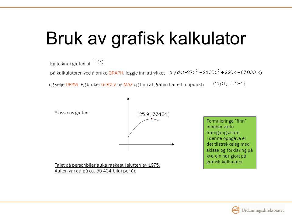 Bruk av grafisk kalkulator Formuleringa finn inneber valfri framgangsmåte.
