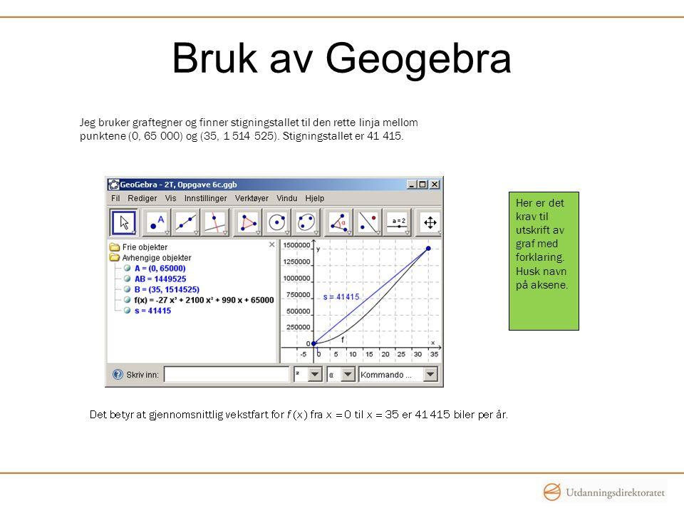 Bruk av Geogebra Her er det krav til utskrift av graf med forklaring.