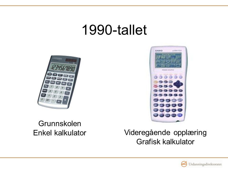 1990-tallet Grunnskolen Enkel kalkulator Videregående opplæring Grafisk kalkulator