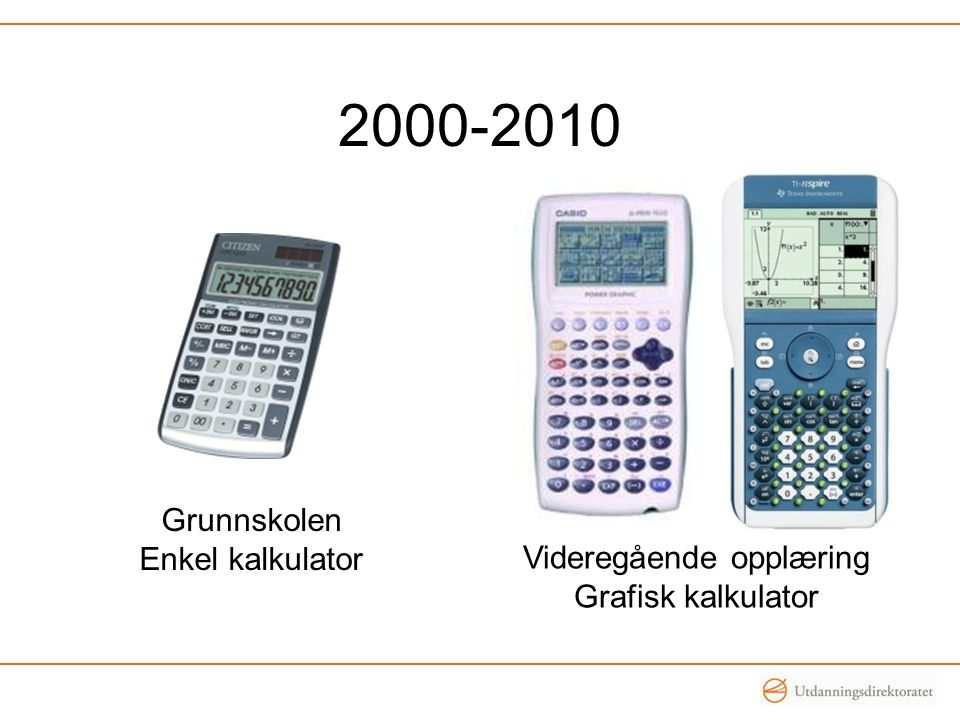 2000-2010 Grunnskolen Enkel kalkulator Videregående opplæring Grafisk kalkulator