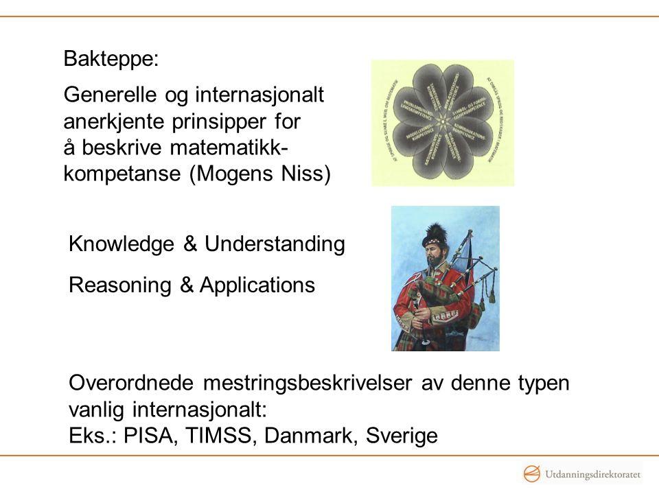 Generelle og internasjonalt anerkjente prinsipper for å beskrive matematikk- kompetanse (Mogens Niss) Bakteppe: Knowledge & Understanding Reasoning & Applications Overordnede mestringsbeskrivelser av denne typen vanlig internasjonalt: Eks.: PISA, TIMSS, Danmark, Sverige