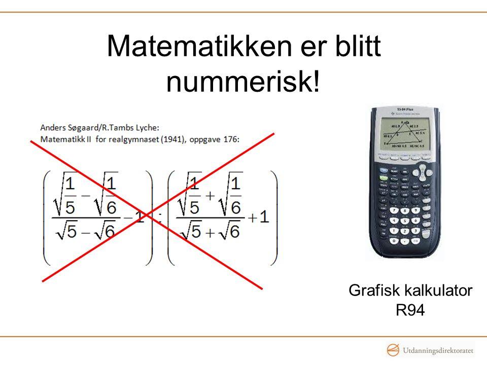 Matematikken er blitt nummerisk! Grafisk kalkulator R94