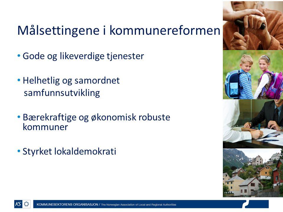 Målsettingene i kommunereformen Gode og likeverdige tjenester Helhetlig og samordnet samfunnsutvikling Bærekraftige og økonomisk robuste kommuner Styrket lokaldemokrati