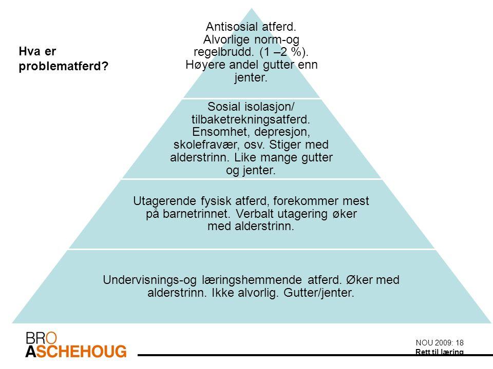 NOU 2009: 18 Rett til læring Antisosial atferd. Alvorlige norm-og regelbrudd.