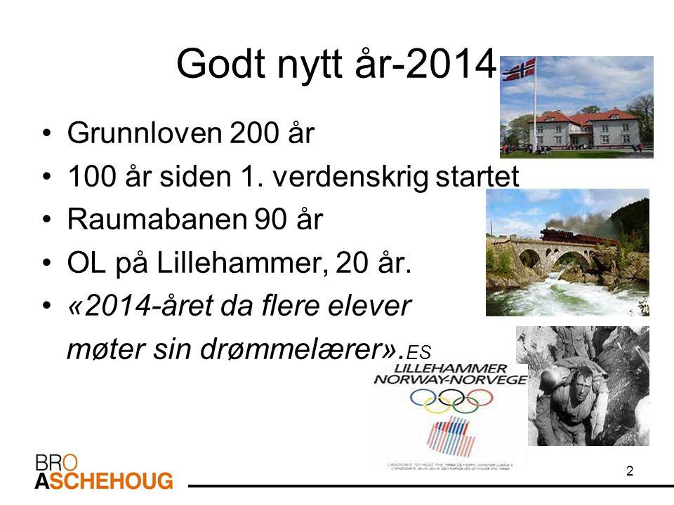 Godt nytt år-2014 Grunnloven 200 år 100 år siden 1.