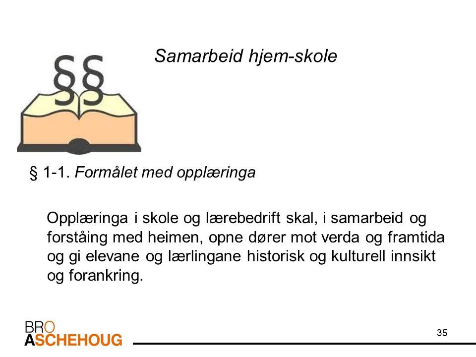 Samarbeid hjem-skole § 1-1.