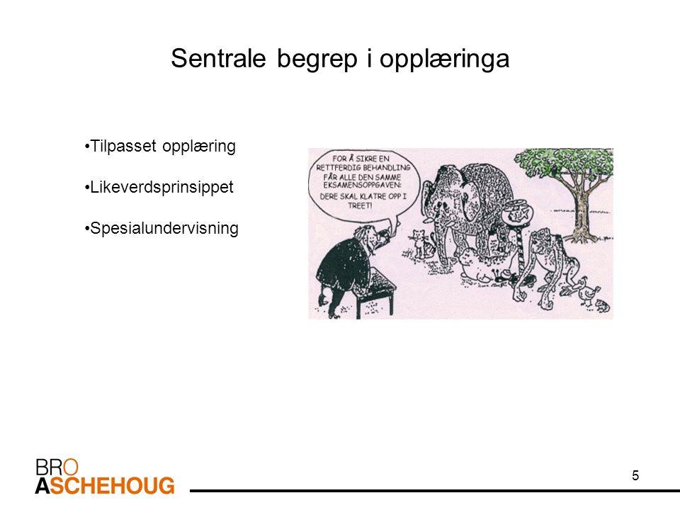 Sentrale begrep i opplæringa 5 Tilpasset opplæring Likeverdsprinsippet Spesialundervisning