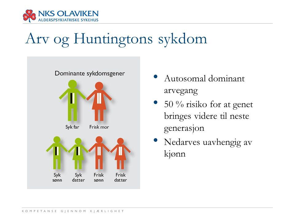 Arv og Huntingtons sykdom Autosomal dominant arvegang 50 % risiko for at genet bringes videre til neste generasjon Nedarves uavhengig av kjønn