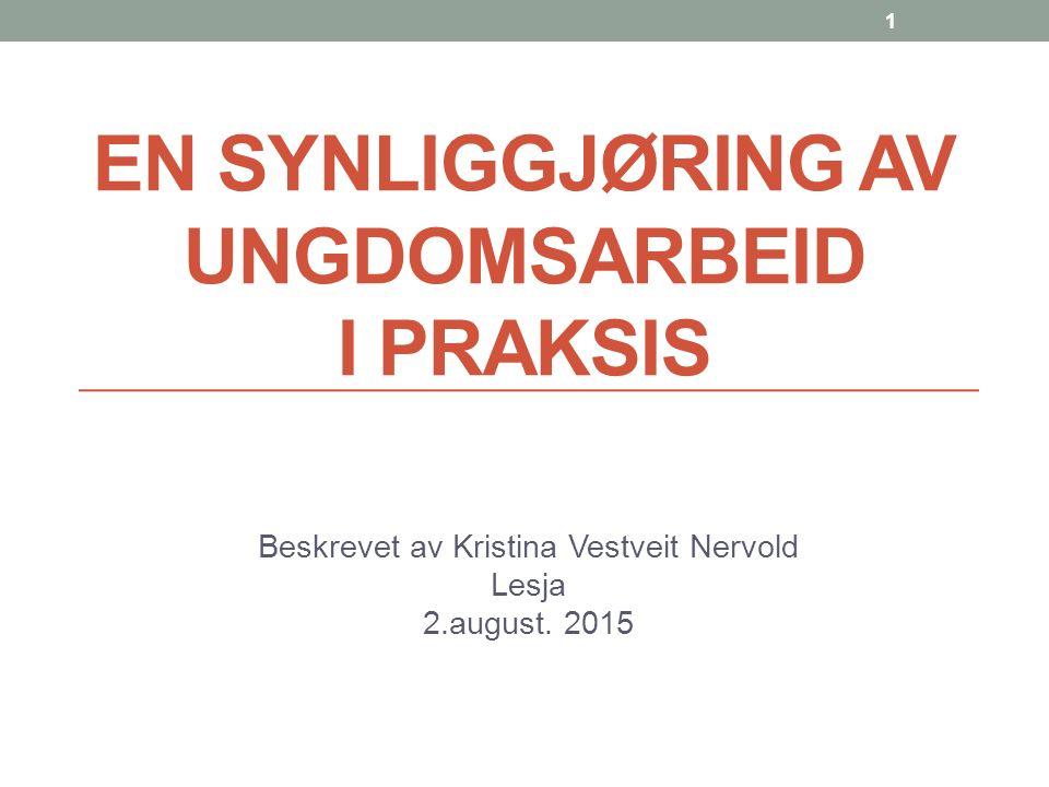 EN SYNLIGGJØRING AV UNGDOMSARBEID I PRAKSIS Beskrevet av Kristina Vestveit Nervold Lesja 2.august.