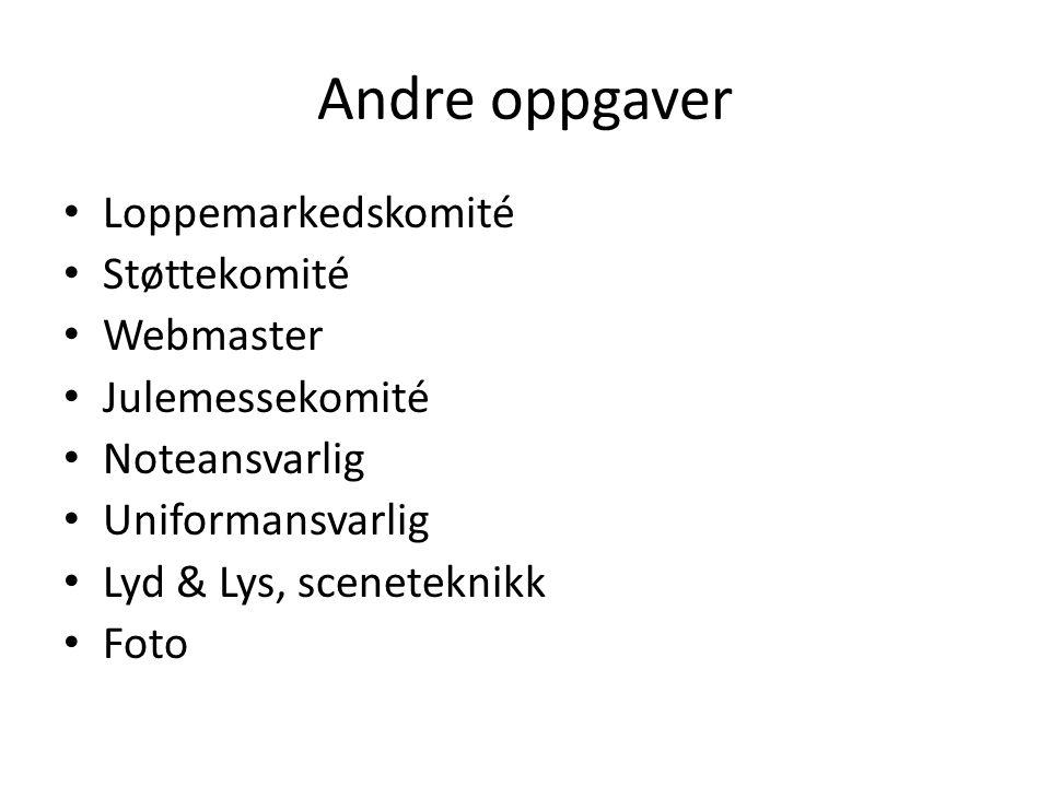 Andre oppgaver Loppemarkedskomité Støttekomité Webmaster Julemessekomité Noteansvarlig Uniformansvarlig Lyd & Lys, sceneteknikk Foto