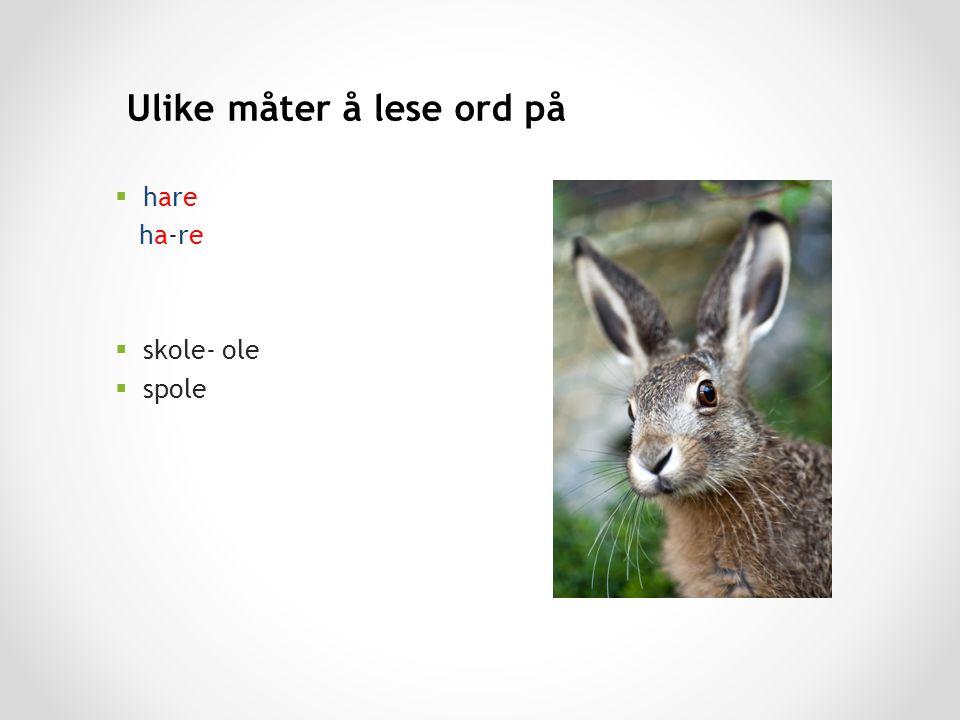 Ulike måter å lese ord på hhare ha-re sskole- ole sspole