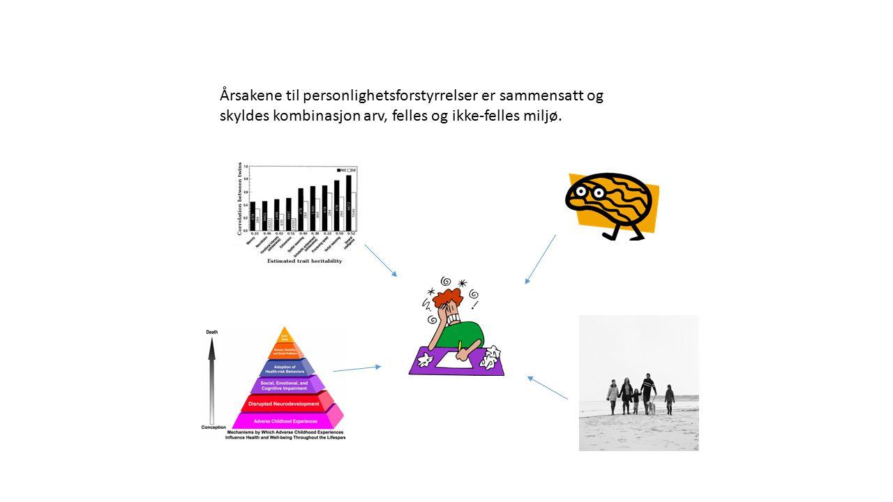 Årsakene til personlighetsforstyrrelser er sammensatt og skyldes kombinasjon arv, felles og ikke-felles miljø.