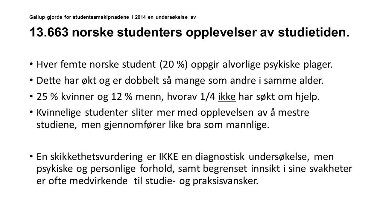 Gallup gjorde for studentsamskipnadene i 2014 en undersøkelse av 13.663 norske studenters opplevelser av studietiden. Hver femte norske student (20 %)