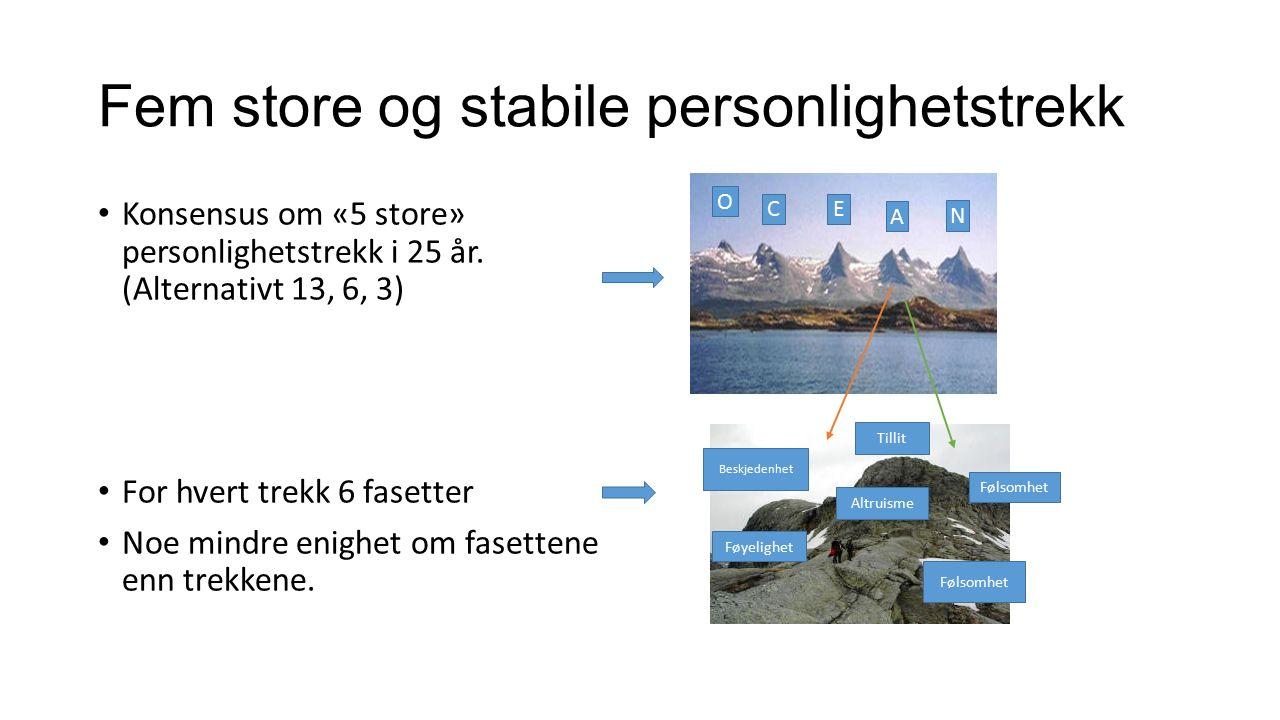 Fem store og stabile personlighetstrekk Konsensus om «5 store» personlighetstrekk i 25 år.