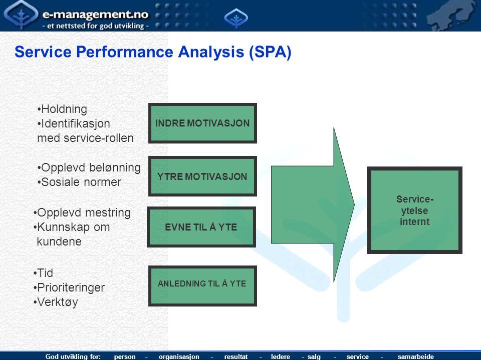God utvikling for: person - organisasjon - resultat - ledere - salg - service - samarbeide Service Performance Analysis (SPA) Service- ytelse internt