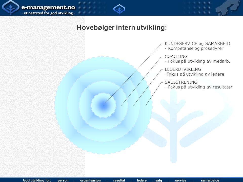 God utvikling for: person - organisasjon - resultat - ledere - salg - service - samarbeide Hovebølger intern utvikling: KUNDESERVICE og SAMARBEID Komp